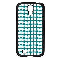 Teal And White Leaf Pattern Samsung Galaxy S4 I9500/ I9505 Case (black) by creativemom