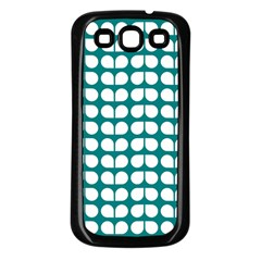 Teal And White Leaf Pattern Samsung Galaxy S3 Back Case (black) by creativemom