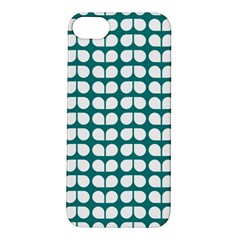Teal And White Leaf Pattern Apple Iphone 5s Hardshell Case by creativemom