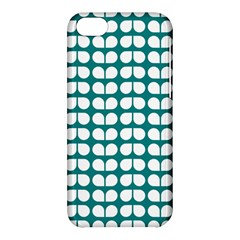 Teal And White Leaf Pattern Apple Iphone 5c Hardshell Case by creativemom
