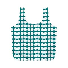 Teal And White Leaf Pattern Reusable Bag (m) by creativemom