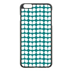 Teal And White Leaf Pattern Apple Iphone 6 Plus Black Enamel Case by creativemom