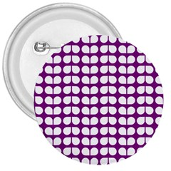 Purple And White Leaf Pattern 3  Button by creativemom