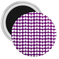 Purple And White Leaf Pattern 3  Button Magnet by creativemom