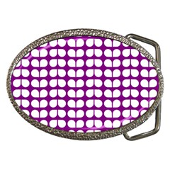 Purple And White Leaf Pattern Belt Buckle (oval) by creativemom
