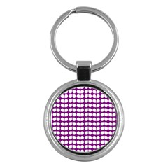 Purple And White Leaf Pattern Key Chain (round) by creativemom