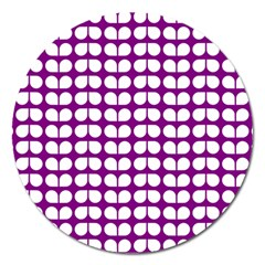 Purple And White Leaf Pattern Magnet 5  (round) by creativemom