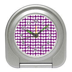 Purple And White Leaf Pattern Desk Alarm Clock by creativemom