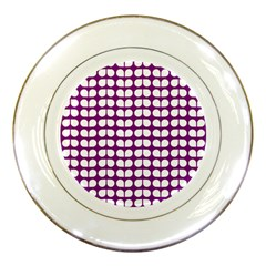 Purple And White Leaf Pattern Porcelain Display Plate by creativemom