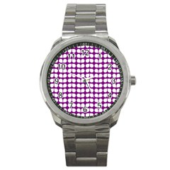 Purple And White Leaf Pattern Sport Metal Watch by creativemom