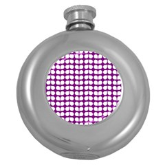 Purple And White Leaf Pattern Hip Flask (round) by creativemom