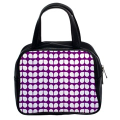 Purple And White Leaf Pattern Classic Handbag (two Sides) by creativemom