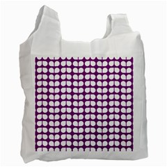 Purple And White Leaf Pattern White Reusable Bag (two Sides) by creativemom