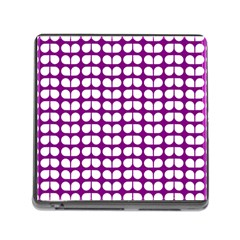 Purple And White Leaf Pattern Memory Card Reader With Storage (square) by creativemom