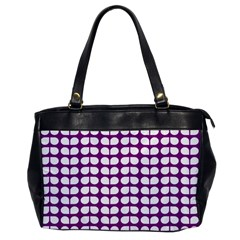 Purple And White Leaf Pattern Oversize Office Handbag (one Side) by creativemom
