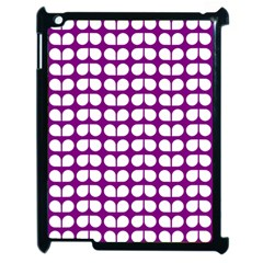 Purple And White Leaf Pattern Apple Ipad 2 Case (black) by creativemom
