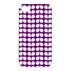 Purple And White Leaf Pattern Apple Iphone 4/4s Hardshell Case by creativemom