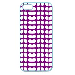 Purple And White Leaf Pattern Apple Seamless Iphone 5 Case (color) by creativemom
