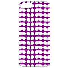 Purple And White Leaf Pattern Apple Iphone 5 Classic Hardshell Case by creativemom
