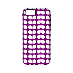 Purple And White Leaf Pattern Apple Iphone 5 Classic Hardshell Case (pc+silicone) by creativemom