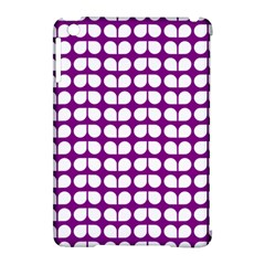 Purple And White Leaf Pattern Apple Ipad Mini Hardshell Case (compatible With Smart Cover) by creativemom