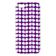 Purple And White Leaf Pattern Apple Iphone 5 Premium Hardshell Case by creativemom