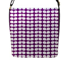 Purple And White Leaf Pattern Flap Closure Messenger Bag (large) by creativemom
