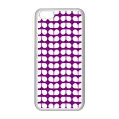 Purple And White Leaf Pattern Apple Iphone 5c Seamless Case (white) by creativemom