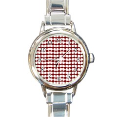 Red And White Leaf Pattern Round Italian Charm Watch by creativemom