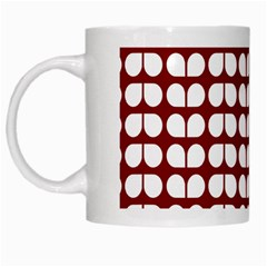 Red And White Leaf Pattern White Coffee Mug by creativemom