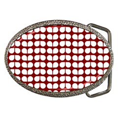 Red And White Leaf Pattern Belt Buckle (oval) by creativemom