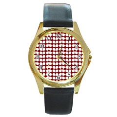 Red And White Leaf Pattern Round Leather Watch (gold Rim)  by creativemom