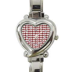 Red And White Leaf Pattern Heart Italian Charm Watch  by creativemom