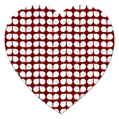 Red And White Leaf Pattern Jigsaw Puzzle (heart) by creativemom