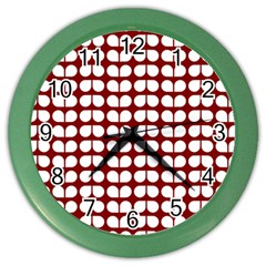 Red And White Leaf Pattern Wall Clock (color) by creativemom
