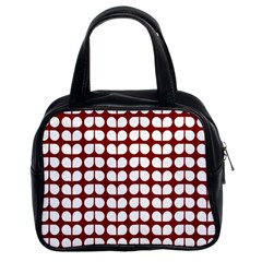 Red And White Leaf Pattern Classic Handbag (two Sides) by creativemom