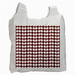 Red And White Leaf Pattern White Reusable Bag (two Sides) by creativemom