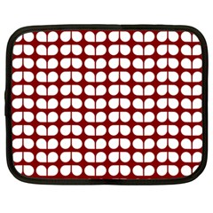 Red And White Leaf Pattern Netbook Sleeve (xxl) by creativemom