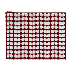 Red And White Leaf Pattern Cosmetic Bag (xl) by creativemom