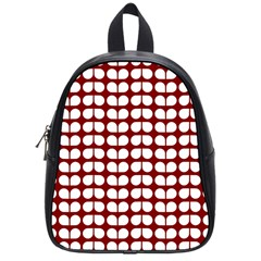 Red And White Leaf Pattern School Bag (small) by creativemom