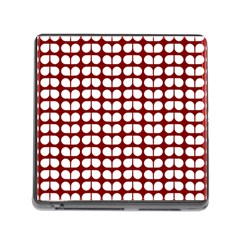 Red And White Leaf Pattern Memory Card Reader With Storage (square) by creativemom