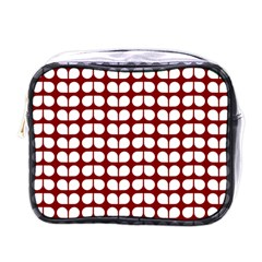 Red And White Leaf Pattern Mini Travel Toiletry Bag (one Side) by creativemom
