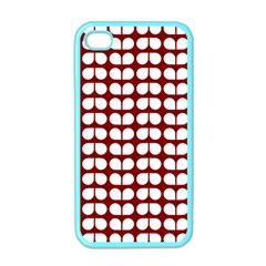 Red And White Leaf Pattern Apple Iphone 4 Case (color) by creativemom