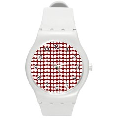 Red And White Leaf Pattern Plastic Sport Watch (medium) by creativemom