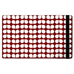 Red And White Leaf Pattern Apple Ipad 2 Flip Case by creativemom