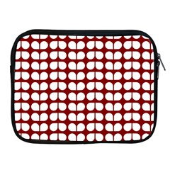 Red And White Leaf Pattern Apple Ipad Zippered Sleeve by creativemom