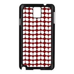 Red And White Leaf Pattern Samsung Galaxy Note 3 N9005 Case (black) by creativemom