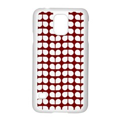 Red And White Leaf Pattern Samsung Galaxy S5 Case (white) by creativemom