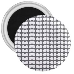 Gray And White Leaf Pattern 3  Button Magnet by creativemom