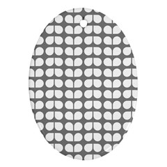 Gray And White Leaf Pattern Oval Ornament by creativemom